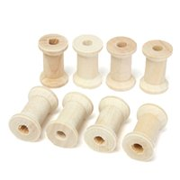 Wholesale Craft Wooden Spools - New Practical 20pcs Set Vintage Style Wooden Bobbins Spools Reels Organizer for Sewing Ribbons Twine Wood Crafts Tools