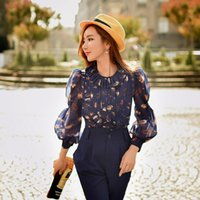 Wholesale Decorated Collar Shirt - Dabuwawa Women's Sweet Long Puff Sleeve Crew Collar Ruffles Decorated Front Bird Printed Navy Blue shirt flowers women Bodycon Blouse