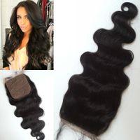 top de seda marrom venda por atacado-Brasileiro top grade virgem de seda cabelo humano com base de fechamento médio marrom a marrom escuro base de seda G-EASY cabelo