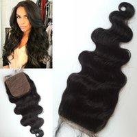 top de seda marrón al por mayor-Cabello brasileño virgen de grado superior con base de seda cierre marrón medio a marrón oscuro base de seda G-EASY Hair