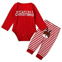 Baby Girls Boys My First Christmas Rompers Tops Long Pants Outfits Set Комплект одежды для детей Kids Baby