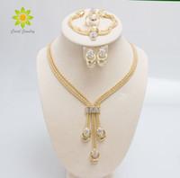 collar de moda establece para las mujeres al por mayor-Nueva llegada de la manera chapado en oro perlas collar collar pendientes pulsera anillos finos establece el traje del partido para las mujeres