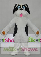 Wholesale Custom Dog Dresses - Black and White Dog Puppy Mascot Costume with red tongue Fancy Dress EPE Free Shipping Adult