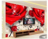 Wholesale Red Wallpaper Rolls - Customize 3D rose red wallpaper wall sticker wallpapers mural wallpaper non wvoen wallpaper factory direct20152323