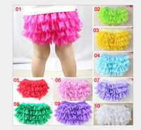 Wholesale Cute Girls Diapers - 11 colors Baby Girls Lace TUTU Bloomers Cute Kids Short Girls Pettiskirt tutus underwear pants Infant Ruffle Diaper Cover Children Clothing