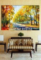 Wholesale Knife Landscape Paintings - Palette Knife Oil Painting Stroll in Fall Park Quiet Path Forest Landscape Picture Canvas Prints for Bedroom Living Room Home Wall Decor
