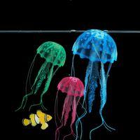 Wholesale jellyfish decorations - Glowing Effect Artificial Jellyfish Fish Tank Aquarium Decoration Mini Submarine Ornament 1PCS
