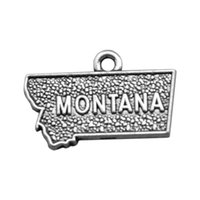 Wholesale Montana Flowers - New Hot Design Double Sided Zinc Alloy MONTANA Map Engraved Letter DIY Charm Pendants Jewelry