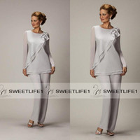 Wholesale Beaded Evening Pants - 2016 Long Sleeves Silver Mother's Pants Suit For Mother of The Bride Groom Ladies Women Cheap Custom Made Beaded Chiffon Party Evening Wear
