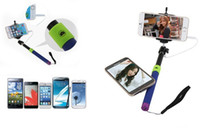 Wholesale Camera Controler - Free DHL 2in1 Audio cable handheld Selfie stick phone camera self-timer shutter for iphone Samsung Portrait controler monopod 3.5mm