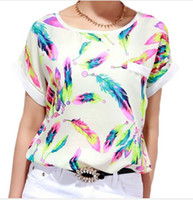 Wholesale Plus Size Dolman - New Women Fashion shirt Blouses Feather Printed short sleeve Loose Shirt Women Chiffon Top Tees plus size S-XL