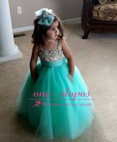 Wholesale Cheap Turquoise Flowers - 2017 Cheap Lovely Cute Kids Flower Girls Dresses Spaghetti Straps Turquoise Tulle Crystal Beads Floor Length For Wedding Girls Pageant Gown