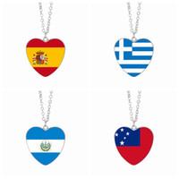 Wholesale Flag Link - Spain Flag Pendant Necklaces 25mm Heart Glass Cabochon Greece El Salvador Samoa Flags Festival Women Jewelry Wholesale