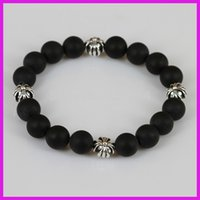 Wholesale Stretch Bracelet Connectors - Wholesale-1pc lot New Natural Black Incense Beads Power Bracelet,Sliver Connector Stone Bead Charm Stretch Bracelet Men Or Women Jewelry