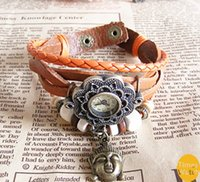 Wholesale Cow Leather Wrap Watch - Wholesale New arrival Fashion vintage retro beaded braided rope bracelet wrap quartz cow leather wrist watch women