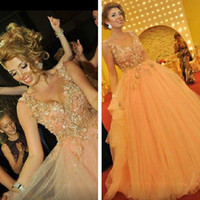 Wholesale Vestidos Formales - 2015 Vestidos Formales V neck With Spaghetti Straps Applique Beads A Line Long Tulle Prom Dresses Ball Gowns Evening Dresses Formal