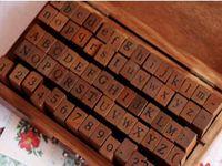 Wholesale wooden numbers letter stamp resale online - Fedex DHL set Number Letter Wood stamp Set With Wooden Box Multi purpose stamp DIY funny work sets