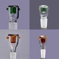 Wholesale Frosted Glass Screen - Smoking Accessories Green and Brown Glass Bowl with Honeycomb Screen Round 14.4mm 18.8mm Frosted male joint fit Glass bongs Smoking Bowls