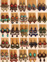 tibetli gümüş takı küpeleri toptan satış-2018 sıcak satış Vintage Tibet Gümüş / Bronz Reçine Gem elmas küpe Bohemia tarzı takı karışık 25 stil 25 Çift / grup