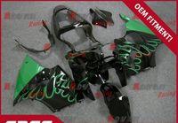 zx6r benutzerdefinierte großhandel-Schwarz lackiert dunkelgrün benutzerdefinierte Kunststoff Spritzguss Verkleidung Kawasaki Kawasaki Ninja ZX6R 2000-2002 08