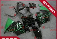 zx6r özel toptan satış-Siyah boyalı koyu yeşil özel plastik enjeksiyon kalıplama Kawasaki Kawasaki Ninja ZX6R 2000-2002 08
