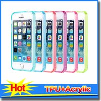 Wholesale Hard Clear Case Blackberry - Clear Acrylic+TPU Transparent Hard 0.5mm Case for iphone 4s 5s, for samsung s5 s4, for sony z1 z2 with opp bags