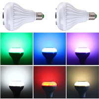 Wholesale led rgb iphone - LED Music Bulb Wireless Bluetooth Speaker Bulb Remote Controller Music RGB Color Warm Lights Lamp With Music Playing For Iphone Andorid New