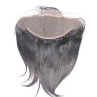 Wholesale Bleached Knots Closure Density - Brazilian Human Hair Lace Frontal Closure 13X6 straight Nautral Color 130%Density Bleached knots With Baby Hair