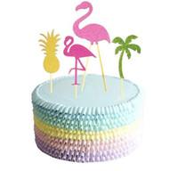 bebek duş pastaları cupcakes toptan satış-12 ADET Doğum Günü Partisi Flamingo Cupcake Toppers Sevimli Kek Topper Seçtikleri Düğün / Doğum Günü Partisi Dekorasyon Bebek Duş Malzemeleri