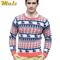 Wholesale ugly sweaters - Wholesale-Free Shipping Long Sleeve Ugly Christmas Sweaters Men O-neck Stylish Men Sweaters Pullover Knitwear Sweater With Deer bobo