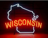 """Wholesale Wisconsin Sign - NEW WISCONSIN BADGERS REAL GLASS TUBE NEON LIGHT BEER BAR PUB DISCO KTV CLUB SIGN ADVERTISEMENT DISPLAY DECORATION SIGN 17""""X14"""""""