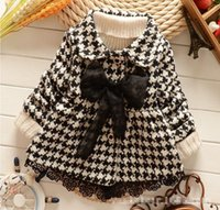 Wholesale Spring Bow Coat - 2015 Autumn And Winter Girls Fashion Coat Baby Kids Cotton Grid Outwear Kids Fashion Clothes With Bow