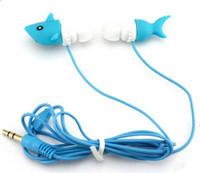 Wholesale Shark Ear - Factory price plastic PVC earphone animal shark earphone good sound MP3 MNP4 earphone DHL free shipping