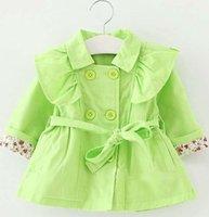 Wholesale New Girl Coats - New Hot Breasted Coat Girls Tops Kids Trench Coats Korean Girl Dress Baby Coats 2015 Autumn Coat Children Clothes Kids Clothing Girls Coat