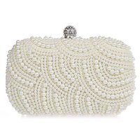 Wholesale Elegant Evening Clutch Bags - Elegant Pearls Evening Bag Portable Beading Case Style Purse Ladies Outdoor Dating Shopping Clutches Handbag hb274