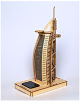 Wholesale Burj Al Arab 3d Puzzle - World famous buildings Solar energy Wooden Jigsaw 3D Puzzle Burj Al Arab Hotel Xmas Gift Toys for childrens Learning Education