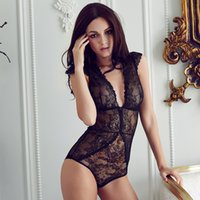 Wholesale Sexy Clothing Transparent - European brand sexy full lace transparent ultrathin jumpsuits plus size women bodysuit girls deep-v comether womens clothing