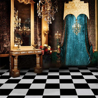 ingrosso abito blu vinile-Fondali fotografia di fondali per interni in tessuto in vinile stampato Tabella di condimento d'epoca lampadario di cristallo candele blu foto sfondo tenda