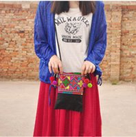 Wholesale Hmong Bags - New arrival Hmong Criss Cross Embroidery small Bags Women Messenger Bags Ethnic pompon Casual bags   Purse