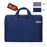 Cartinoe Jeans Series Denim Tissu Étui pour ordinateur portable Porte-documents Porte-sacs en manchette denim + housse en peluche pour Macbook Air Pro 11/12 / 13.3 / 15.4 pouces