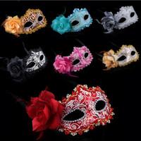 красивые маски для хэллоуина для женщин оптовых-Красивый цвет Роза Принцесса Маска половина лица Венеция Маскарад партия сексуальные женщины Маска Хэллоуин косплей производительность аксессуары 20 шт. SD389