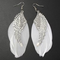 Wholesale Earrings Plume - New Women Plume Earring Feather Dangle Earring Angle's Wing New Jewelry for Girl Wholesale Free Shipping