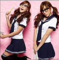 Wholesale Sexy Schoolgirl Dress - japanese school uniform sexy lingerie costumes for schoolgirls erotic students mini dress 2014 new free shipping