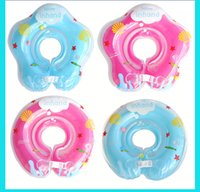 Wholesale Swim Ring Baby Double - Adjustable 4 Colors Inflatable Circle New Born Infant Swimming Neck Baby Swim Ring Float Ring Safety Double Protection for 0-18Months