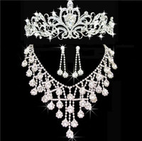 Wholesale crowning dress girls - Tiaras gold Tiaras Crowns Wedding Hair Jewelry neceklace,earring Cheap Wholesale Fashion Girls Evening Prom Party Dresses Accessories