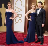 askısız koyu mavi elbiseler toptan satış-Amy Adam Mermaid Straplez Sweep Tren Koyu Mavi Saten 86 Oscar Yıllık Akademi Ödülleri Ünlü Kırmızı Halı Elbiseleri Abiye giyim DL1310853