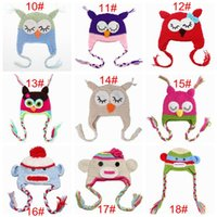 Wholesale Owl Hats For Kids - newborn crochet animal cartoon hats kids winter beanie skull caps infant owl monster hat baby knit photography props 32colors for girls boy
