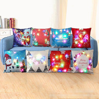 cubiertas de luz de navidad al por mayor-Led Light Christmas Throw Pillows Case Luminous Santa Claus Fundas de cojín Sofa Car Navidad Decoración Funda de almohada Reno Snowman 8 Designs YW90-4