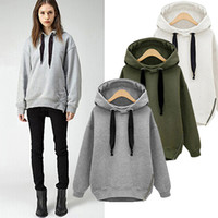 Wholesale Korean Hooded Jacket - 2016 New Winter Autumn Loose Hooded Jacket Plus Size Thick Velvet Long sleeve Sweatshirt Korean Style Hoodies 500g pc