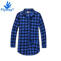 Wholesale Shirt Camicie - Wholesale-Plaid Long Sleeve Shirts Elongated Oversized Hip Hop 3D Tyga Longue Chemise Homme Camicie Uomo